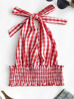 Smocked Backless Checked Halter Top - Red L