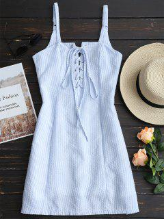Striped Lace Up Mini Cami Dress - Light Blue L