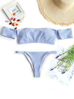 Off Shoulder Striped Thong Bikini - Blue And White L