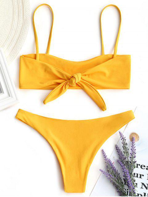 shop Bow Tied Bralette Bikini Set - YELLOW S Mobile