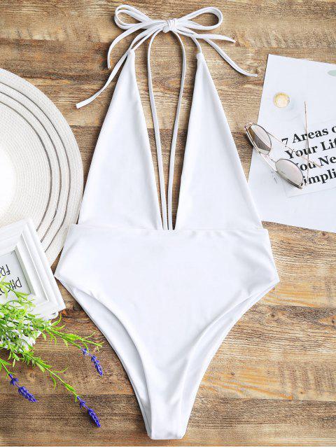 Escote redondo y espalda abierta Bralette Swimwear - Blanco L Mobile