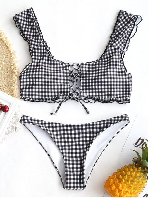 Gingham Schnürung Bralette Bikini Set - Weiß & Schwarz M Mobile