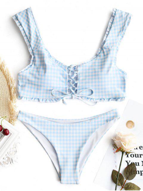 Gingham Schnürung Bralette Bikini Set - Blau & Weiß S Mobile