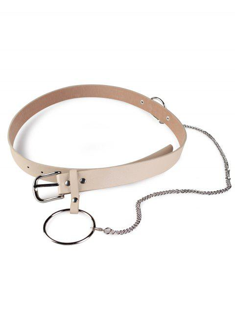 best Large Hoop Chain Pin Buckle Wide Belt - KHAKI  Mobile