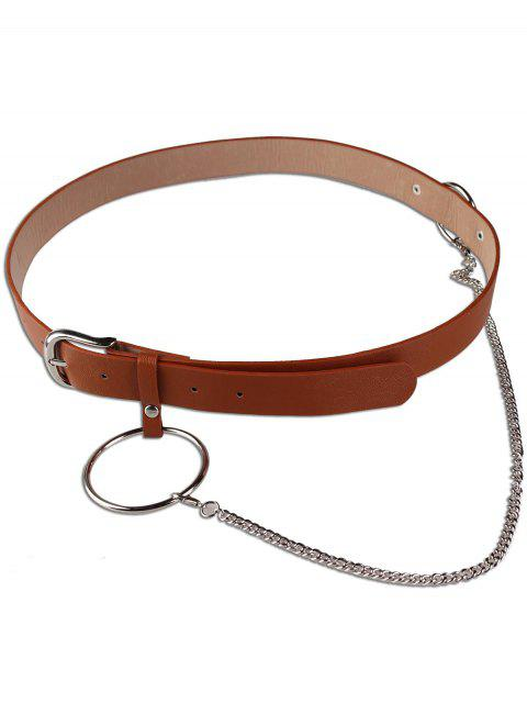 new Large Hoop Chain Pin Buckle Wide Belt - BROWN  Mobile