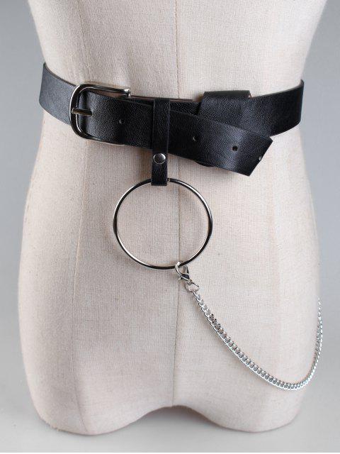 حزام للخصر مزين بسلسلة - أسود  Mobile