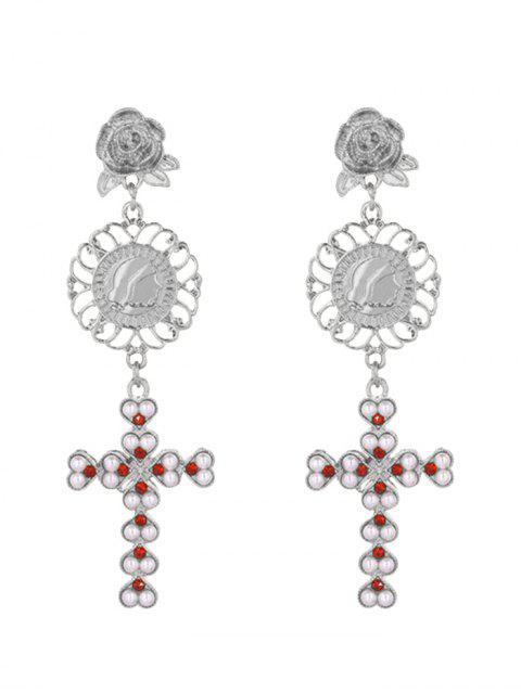 Pendientes de crucifijo grabado floral perla de faux - Plata  Mobile