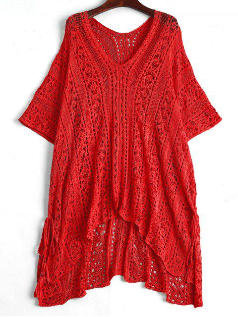 women Open Knit Beach Poncho Cover Up Dress - RED ONE SIZE Mobile