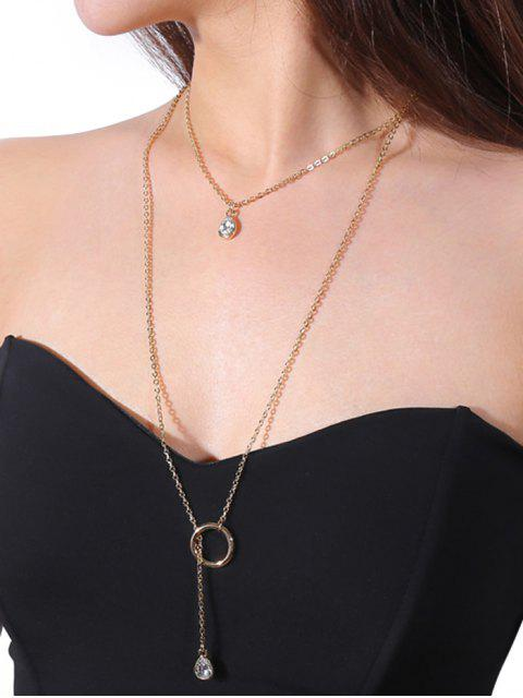 outfit Rhinestone Teardrop Circle Layered Necklace - GOLDEN  Mobile