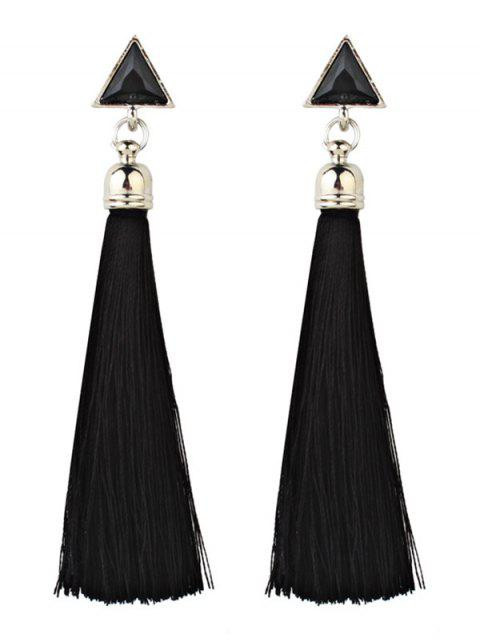 Triángulo de Bohemia y borla Pendientes de gota larga - Negro  Mobile
