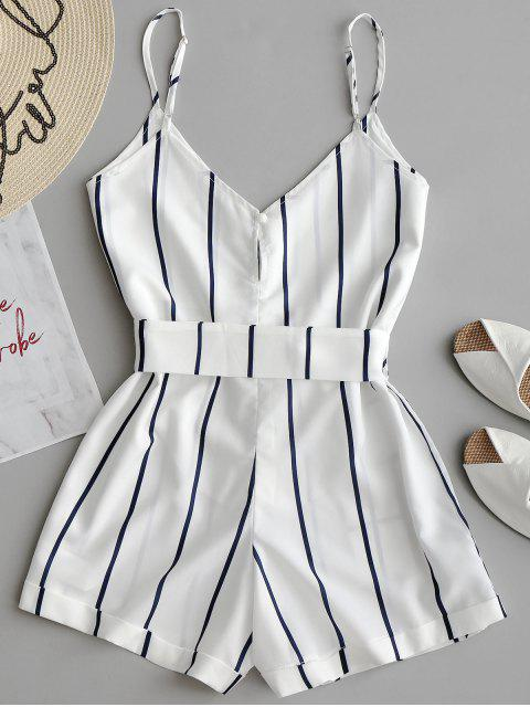 fashion Striped Belted Cami Romper - WHITE XL Mobile