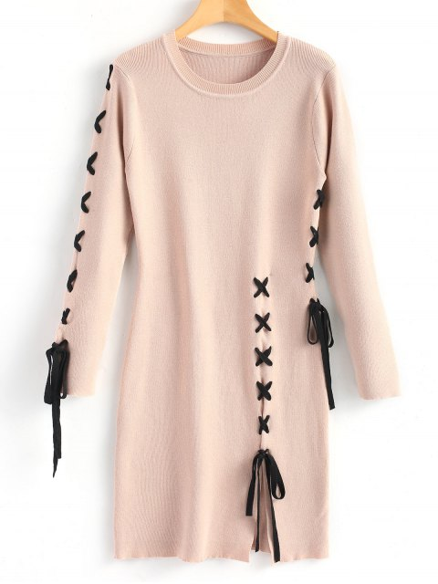 ladies Slit Criss Cross Sweater Dress - NUDE PINK M Mobile