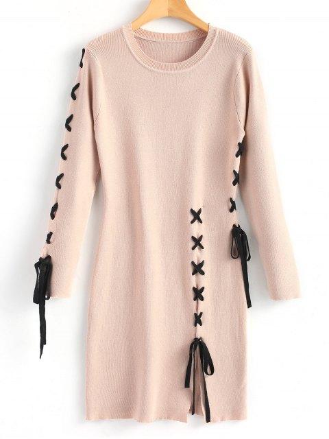 Schlitz Kreuz Pullover Kleid - Nude Pink  L Mobile