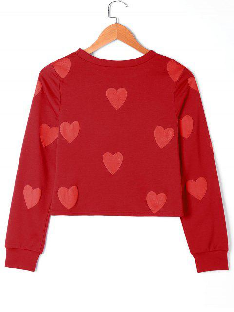 latest Hearts Graphic Sweatshirt - RED L Mobile