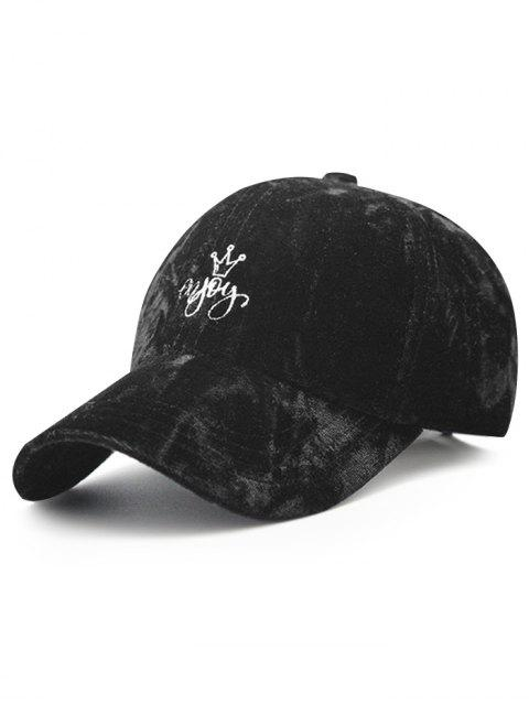 best Yoy Crown Embroidery Velvet Baseball Hat - BLACK  Mobile