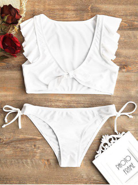 Juego de Bikini de Cuerdas atado al Frente con Volantes - Blanco S Mobile