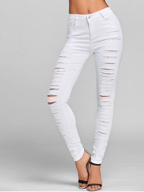 lady Distressed Skinny Jeans with Pockets - WHITE M Mobile