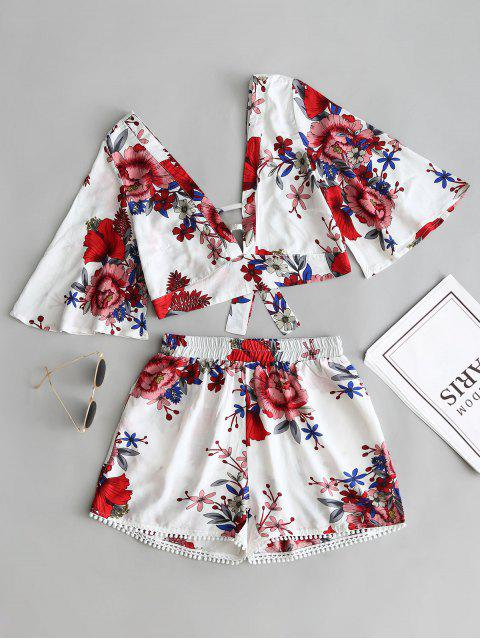 latest Floral Cropped Top and Lace Trim High Waisted Shorts - WHITE L Mobile