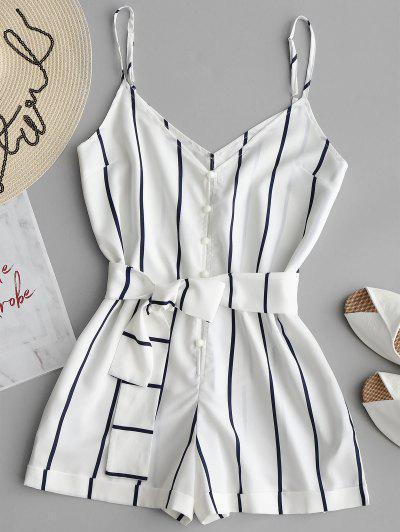 Striped Belted Cami Romper - White Xl