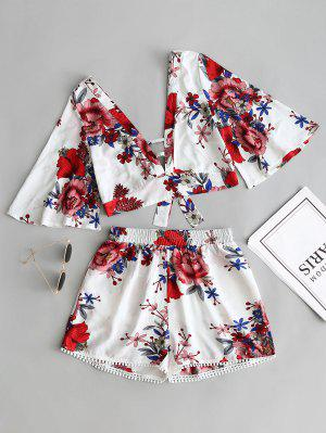 Floral Cropped Top and Lace Trim High Waisted Shorts