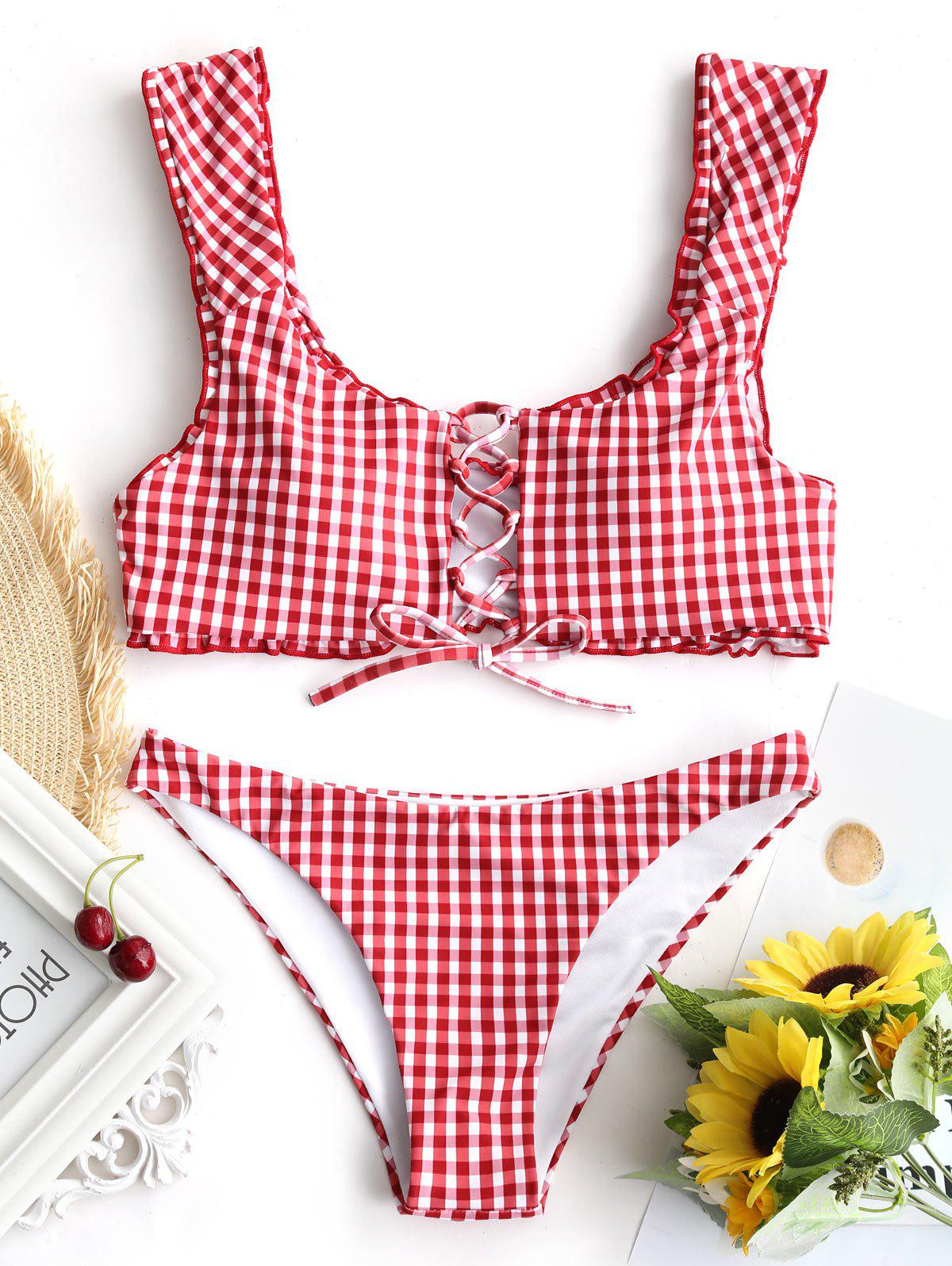 Gingham Lace Up Bralet