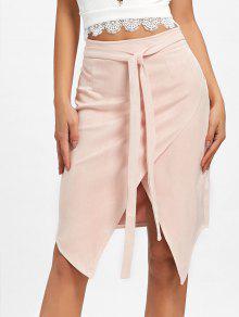 غير متماثلة عالية مخصر التفاف تنورة - حجاب S