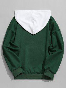 Para Capucha De Capucha Con Contraste Con S Hombre Sudadera Verde gEvYq7