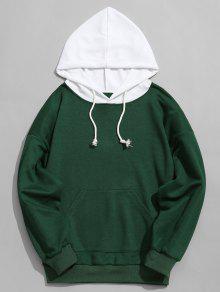 Verde Contraste Capucha Con S Para Con Hombre Capucha De Sudadera 18Uv0qw