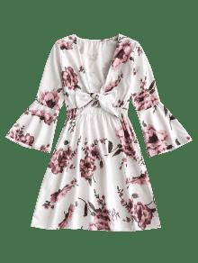 Cuello Abombado Blanco S Larga Manga Y Con Vestido Floral vEqanZ
