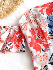 Vestido S Cintura Alta Largo Con Descubiertos De Hombros Floral qg8v87