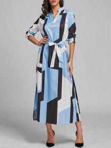 هندسي اللون كتلة اللباس ميدي - الضوء الأزرق L