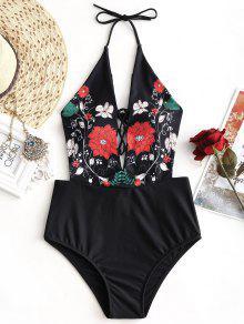 لباس سباحة برباط حول العنق مزين بأزهار - أسود L