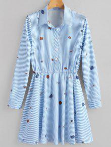 فستان شيرت بنصف الزر مخطط - أزرق Xl