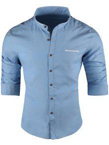 ماندرين طوق قمصان طويلة الأكمام - أزرق 5xl