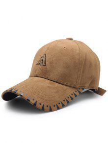 مثلث التطريز فو الجلد المدبوغ قبعة بيسبول - قهوة