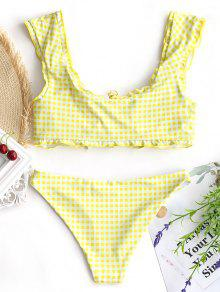 0904a309ab 41% OFF  2019 Gingham Lace Up Bralette Bikini Set In WHITE AND ...
