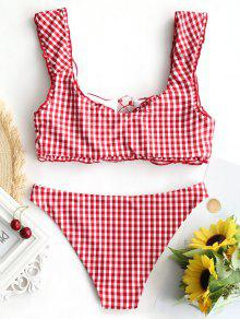 43178ebb88 22% OFF  2019 Gingham Lace Up Bralette Bikini Set In RED AND WHITE ...