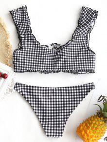 da33a48415 12% OFF  2019 Gingham Lace Up Bralette Bikini Set In WHITE AND BLACK ...