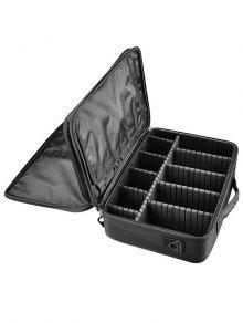 الطبقات متعددة الوظائف التقسيم حقيبة مستحضرات التجميل - أسود