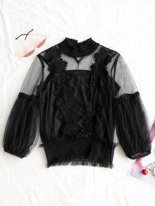 Blusa Transparente De Ganchillo Con Blusa Sin Mangas - Negro S