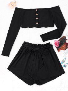 Pantalón Corto Con Costuras Y Pantalones Anchos - Negro Xl