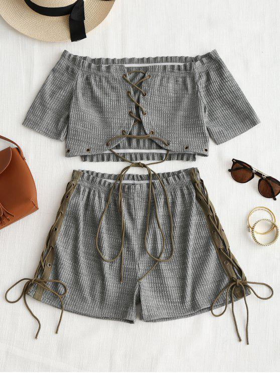new Lace Up Off Shoulder Top and Shorts Set - DEEP GRAY L