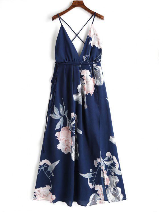 women's Floral Criss Cross Back Slit Maxi Dress - DEEP BLUE M