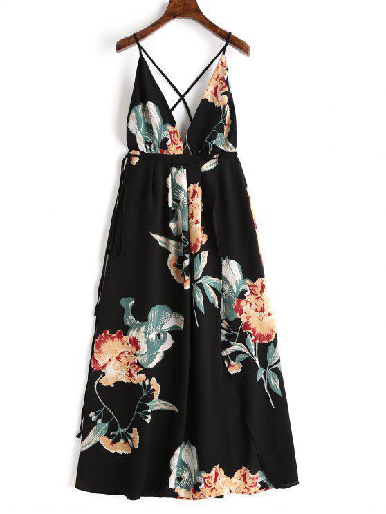 Robe Longue Florale à Décolleté Plogeant à Dos Nu Croisé - Noir S