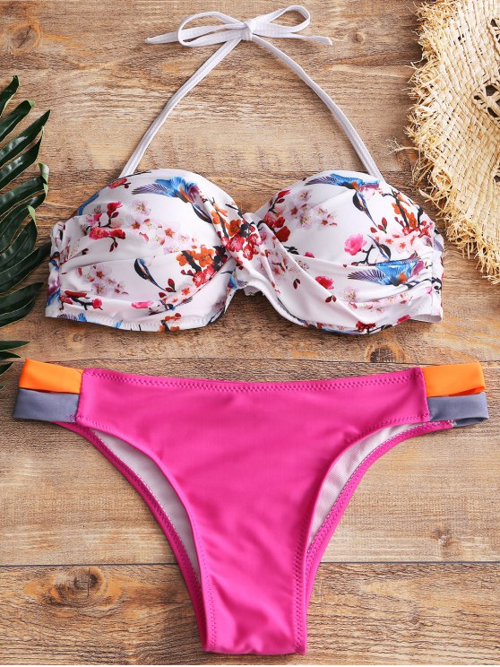 Underwire Twist Push Up Bandeau Bikini Set