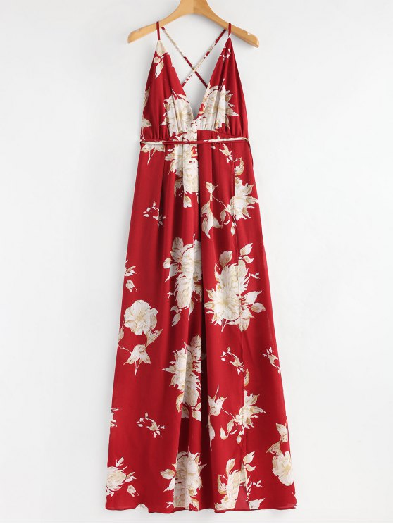 womens Floral Slit Criss Cross Maxi Dress - RED S