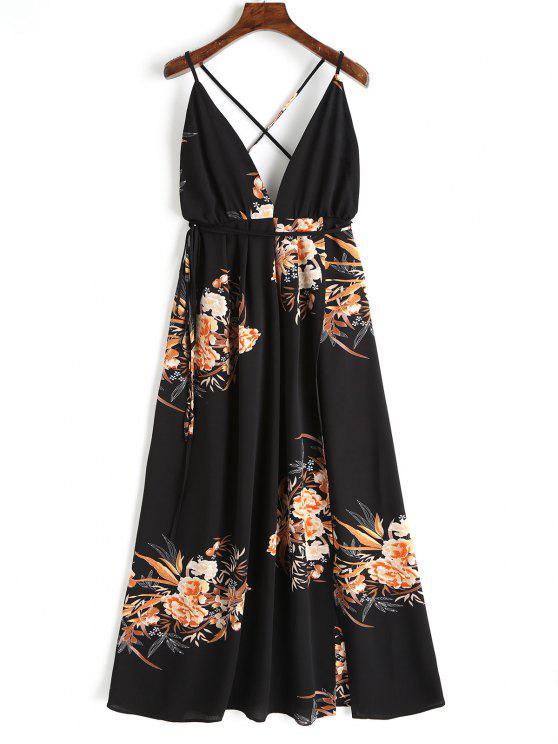 3062516793 26% OFF  2019 Criss Cross Back Floral Maxi Dress In BLACK