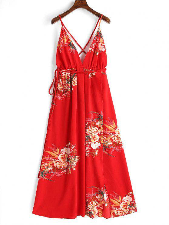 new Criss Cross Back Floral Maxi Dress - RED M