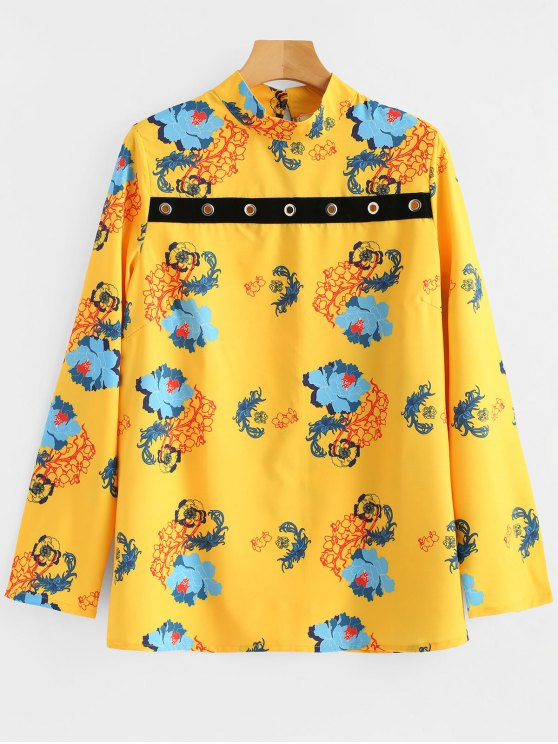 latest Metallic Rings Keyhole Floral Blouse - YELLOW S