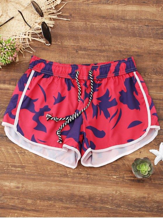 Pantalones cortos de playa impresos - Rojo L